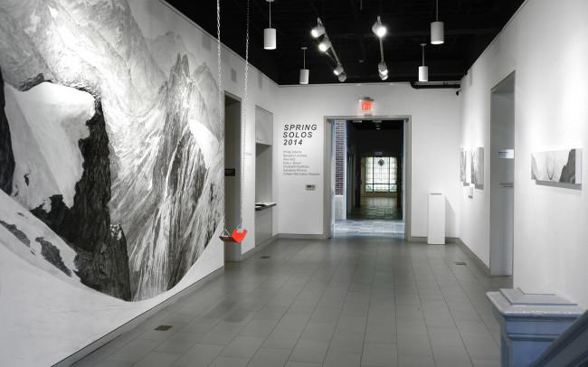 Phillip Adams Silent Swing installation at Arlington Arts Center