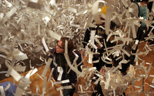 Phillip Adams Ticker Tape Parade installation at Painted Bride Arts Center