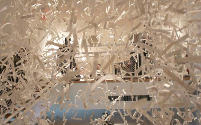 Phillip Adams Ticker Tape Parade installation at Painted Bride Arts Center